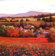 Poppy Pastures II by T.C. Chiu art print