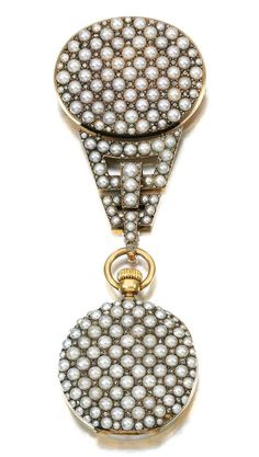 Lot 123 - Lady's seed pearl and diamond pendant watch, Linzeler Freres, circa 1890