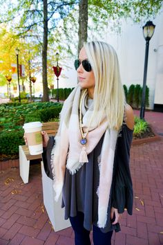 Staying Warm with Cold Shoulders // Swirling Honey Boutique // www.amybelievesinpink.com