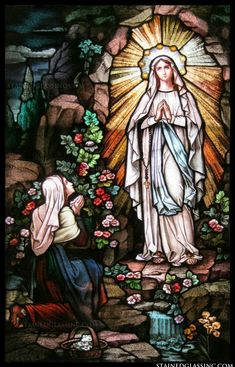 """""""Our Lady of Lourdes"""" Religious Stained Glass Window Stained Glass Church, Stained Glass Paint, Stained Glass Windows, Blessed Mother Mary, Blessed Virgin Mary, Catholic Art, Religious Art, Our Lady Of Lourdes, Holy Mary"""