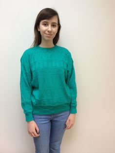 JUMPER SALE Vintage Acrylic Green Pullover Jumper by FoxFowweather