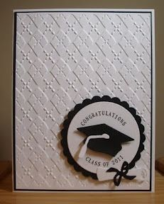 A simple graduation card for today. I cut the graduation cap (from Lifestyle Crafts, formerly Quickutz) from black and white cardstock. Graduation Cards Handmade, Greeting Cards Handmade, Cricut Cards, Stampin Up Cards, Paper Cards, Diy Cards, Embossed Cards, Congratulations Card, Copics