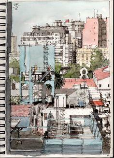 Landscape Sketch, Watercolor Landscape, Watercolor Trees, Watercolor Drawing, Painting & Drawing, Watercolor Portraits, City Sketch, Travel Sketchbook, Urban Sketchers