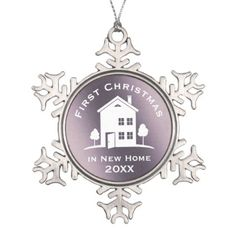 First Christmas in New Home 20XX | Lovely Snowflake Pewter Christmas Ornament - home gifts cool custom diy cyo