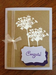 Handmade Congrats with Queen Anne's Lace Card. $5.00, via Etsy.