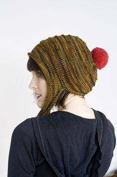 Kotiya - funny thing between a bonnet, an earflap hat, and a slouch - pattern by Alexandra Tinsley