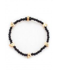 King Baby - Onyx Bead with 5 Baby Hamlet Skulls' Bracelet Mens Designer Jewelry, Designer Clothes For Men, Jewelry Design, London Clothing Stores, King Baby Jewelry, Latest Fashion Design, Skull Bracelet, Queen, Belts For Women
