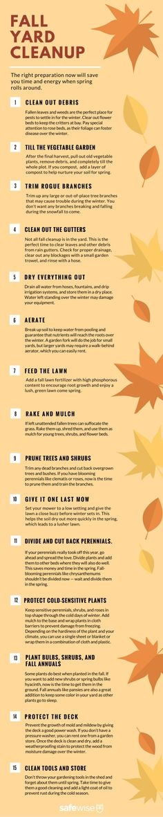 The 15 Must-Dos of Fall Yard Cleanup Fall Yard Cleanup Checklist. The more prep you do in the fall, the greener your lawn is come spring. And you'll be more likely to plant in the spring if everything is clean and ready! Fall Clean Up, Planting Bulbs, Fall Planting, Autumn Garden, Autumn Fall, Garden Care, Lawn And Garden, Indoor Garden, Garden Paths