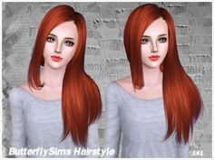 Shiny straight hairstyle 141 by Butterfly Sims - Sims 3 Hairs Sims 3, Redhead Art, Download Hair, Free Sims, Sims Hair, Straight Hairstyles, Butterfly, Long Hair Styles, Female Hairstyles
