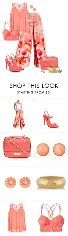 """""""~Shahida Parides~ Floral Print Silk Palazzo Pant ~"""" by justwanderingon ❤ liked on Polyvore featuring Topshop, Carvela Kurt Geiger, Ciner, Charlotte Russe, Kenneth Jay Lane, Go Silk, Hollister Co., floral, coral and bralet"""