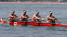 Julien Bahain, Robert Micael Gibson Will Dean, and Pascal Lussier, of Canada, compete in the men's quadruple scull heat heat during the 2016 Summer Olympics in Rio de Janeiro, Brazil, Saturday, Aug. 6, 2016. (AP Photo/Andre Penner)