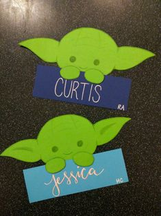 My Yoda door decs for my Star Wars floor in the spring are so adorably perfect.