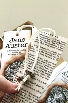 Jane Austen Bookmarks (or any of your favorite authors). Button at the end of the ribbon, tied in a knot. Will have to do that.