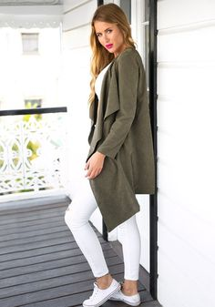 Cover up in classy style with this artichoke green draped open-front cardigan. It features open front design, long sleeves detailing and shoulder epaulets. Click here to shop today.