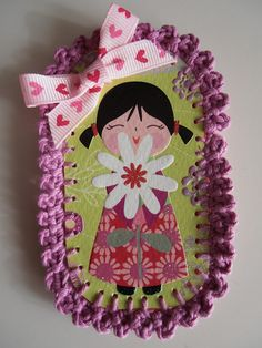 kokeshi crochet brooche Pot Holders, Head Bands, Hot Pads, Potholders, Planters