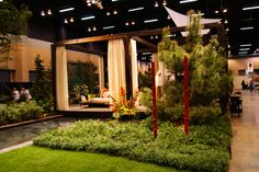 painted bamboo focal element photographed by Heather Moll-Dunn Landscape and Garden Design at the Southeastern Flower Show.