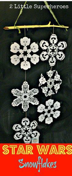 DIY Star Wars Snowflakes #silhouettecameo www.2littlesuperh...