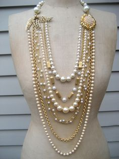 Vintage Necklace, Wedding Necklace, Pearl Necklace - Dripping in Chanel. $189.00, via Etsy.