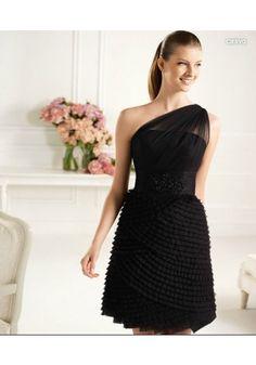 One Shoulder Short Chiffon Sheath Column Party Dress