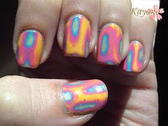 Acid Wash Mani-  Put 3-4 coats of polish on over top of eachother. Then take a q-tip and dip it in acetone. Lightly scrub. The longer you scrub the more layers you go through