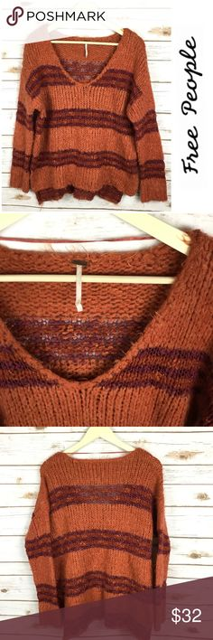 """Free People Chunky Knit Striped Sweater Free People Chunky Knit Striped Sweater   -Size-M -Length-23"""" -Width-23"""" -Great condition-no visible flaws Free People Sweaters Crew & Scoop Necks"""