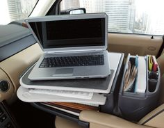 Taking your work on the road just got a lot easier. The Gripmaster Mobile iPad Desk keeps your iPad and papers from sliding around in the car.