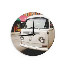 "Angie Turner ""VW Bus"" White Vintage Wall Clock"