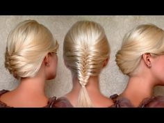 French fishtail braid and updo hairstyle for medium and long hair tutorial