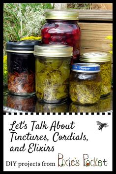 Tinctures are medicinal extracts of herbs in alcohol, but what are elixirs or cordials? You can make each of these at home, it is easy and fun!