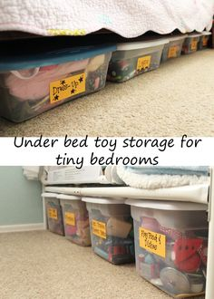 With all three kids in one 11x11 room (and every single toy, book, and item of clothing sharing it as well), floor space is very limited.  So we take advantage of every inch underneath the beds to free up space and reduce clutter! (one bunk bed and one toddler bed)  Also helps keep random clothes, toys and junk from collecting under there and having to be cleaned out.
