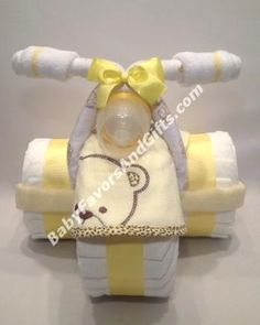 Adorable Bear Tricycle Diaper Cake #TricycleDiaperCake #babyshower