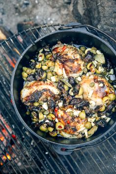 Dutch Oven Chicken Marbella You'll never believe how easy it is to make this gourmet camping meal! Dutch Oven Chicken Marbella is perfect for cooking over the campfire. Best Camping Meals, Camping Menu, Camping Recipes, Outdoor Camping, Backpacking Meals, Camping Cooking, Camping Dishes, Camping Ideas, Camping Foods