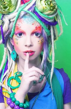 Artistic dreads, multi-colored, long dreadlocks, synthetic dreads, Blonde with touches