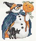 October Witch Snowlady; Snowman cross stitch chart for every month of the year; if text overlaps, click on view in toolbar across top, then decrease size of text to medium or small. Click on color chart to download PDF file for each cross stitch chart.  12 in all  : )