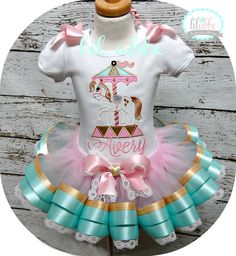 Shabby Chic Carousel Tutu Set~NO Number~Aqua, Pink and Gold~Includes Top, Ribbon and Lace Tutu, Hair Bow~So CHIC! on Etsy, $82.99
