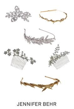 Golden and crystal wedding headpieces by Jennifer Behr. Shop combs, headbands, and bobbypins perfect for brides with long to short hair at www.jenniferbehr.com
