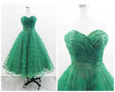 Vintage Cotillion dress 1950s strapless sweetheart emerald green embroidered tulle layered, interior layer is a deep olive taffeta followed by a tiered crinoline layer finished with the embroidered tulle over top.bodice has boning Materials: tulle, crinoline, taffeta Z
