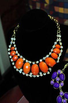 Orange Rhinestone Statement Necklace by AllButFlowers on Art Fire, $15.00 http://www.artfire.com/ext/shop/studio/allbutflowers
