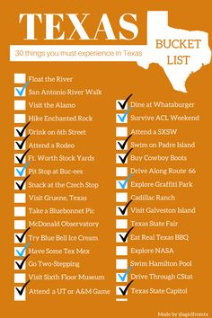 The Ultimate Texas Bucket List Everything You Should Do When in Texas - A Girl From TX How Texan do you think you are? How many have you crossed off the list? Check out the Ultimate Texas Bucket List to find out what Texan adventure you should do next! Texas Roadtrip, Texas Travel, Travel Usa, Camping In Texas, Texas Vacations, Travel Kids, Travel Logo, Family Vacations, California Travel