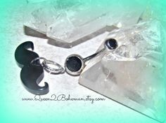 Mustache Button Belly Ring Hipster Direct by Queen2Bohemian, $13.00