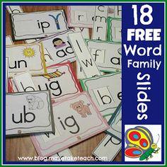 Classroom Freebies: 18 Free Word Family Sliders