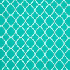Turquoise Quatrefoil Cotton Calico Fabric
