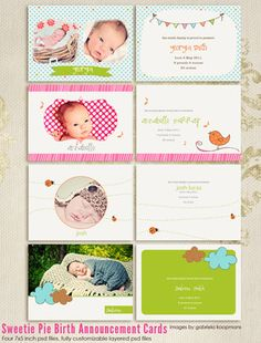 Adorable birth announcements from Seventh Avenue Designs