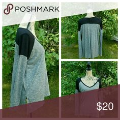 "Black & Grey Slouchy Shirt High low with a Side slit.  56/44 Rayon/Polyester Knit.  Oversized. Comfy and cozy!  Lightweight for everyday wear but easy to dress up.   Bundle & Save!   MADE IN CAMBODIA.   PRICE IS FIRM!  Measurements are taken laying flat and are approximate.   S: bust- 21""; shoulders- 22""; sleeve length- 19""; length- 25""; across bottom hem- 24"".   M: bust- 24""; shoulders- 23 1/2""; sleeve length- 19""; length- 26""; across bottom hem- 25"". posh on first boutique  Tops Tees…"