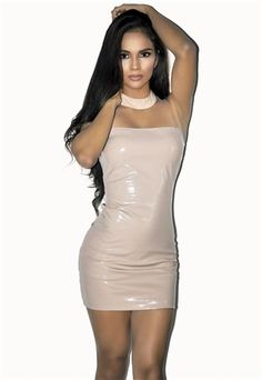 Women/'s Metallic PVC Wet Look Grease High Shine Gold Silver Black Body Con Dress