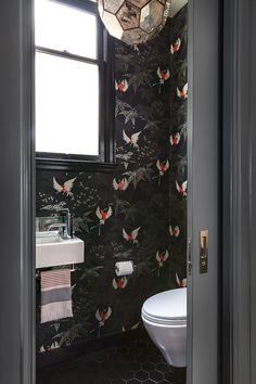 San Francisco, Powder Room, Black Hex Tile, Osborne and Little Wallpaper, Worlds Away Knox Pendant, black trim, Glam Bathroom