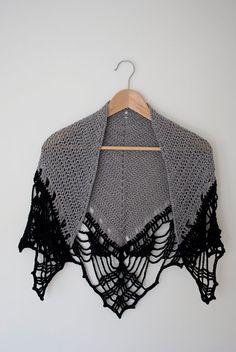grey with black edge crochet shawl summer shawl for von annerstreet