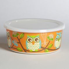 One of my favorite discoveries at WorldMarket.com: Small Orange Owl Bamboo Bowl with Lid