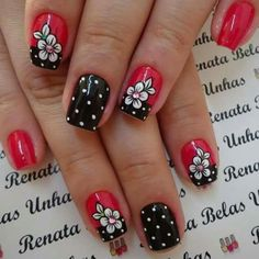 When looking for inspiration, especially for Valentine's Day, you need to concentrate on the common vday theme. Your typical red, white and black is always a solid choice but other abstract colors can be great too. Dot Nail Designs, Black Nail Designs, Nails Design, Gel Nail Art, Nail Manicure, Nail Polish, Rockabilly Nails, Nail Shapes Square, Work Nails