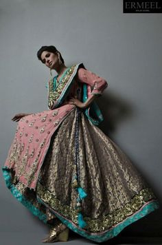 South Asian Bridal Outfit — Gorgeous! Love the pink and mint accents! #SouthAsianCouture